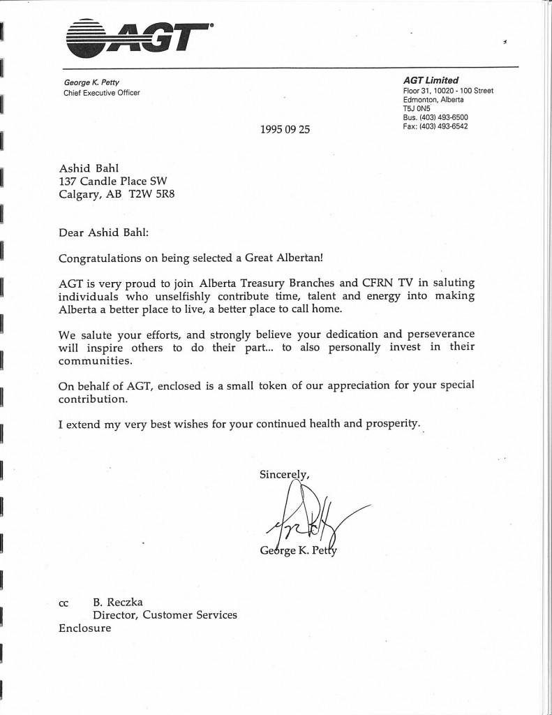 AGT Letter